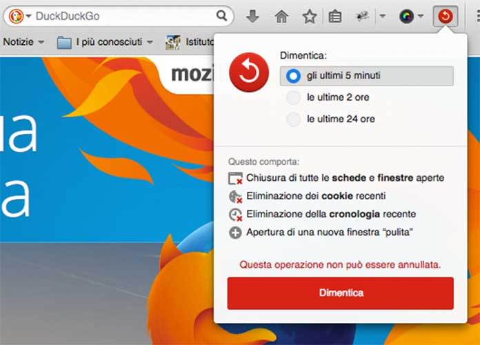 """Firefox introduce il pulsante """"Dimentica"""""""