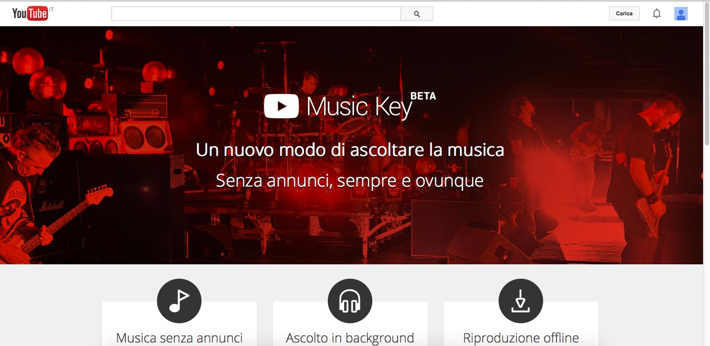 "Youtube lancia ""Music Key"" musica in abbonamento"