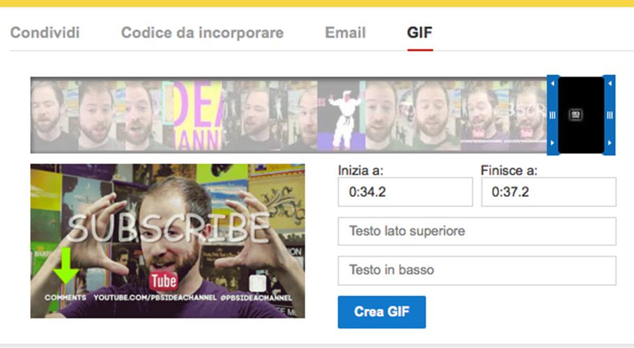 Youtube introduce la condivisione con le Gif animate