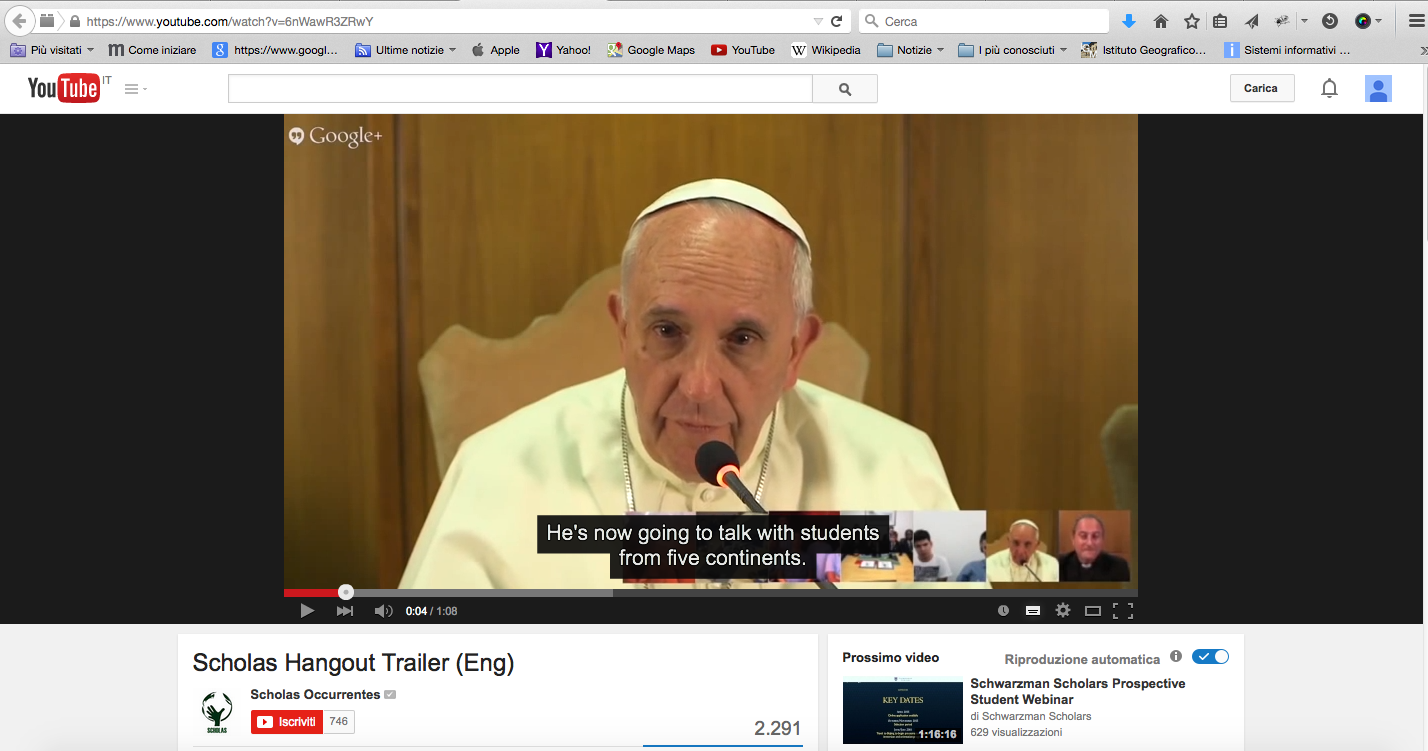 Papa Francesco risponde ai bambini disabili su Hangout