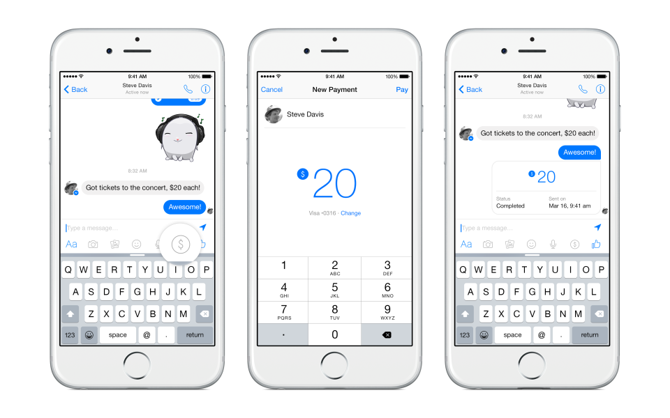 Facebook introduce i pagamenti in chat