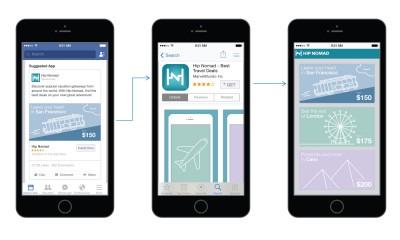 Facebook: landing page dopo avere installato un'App