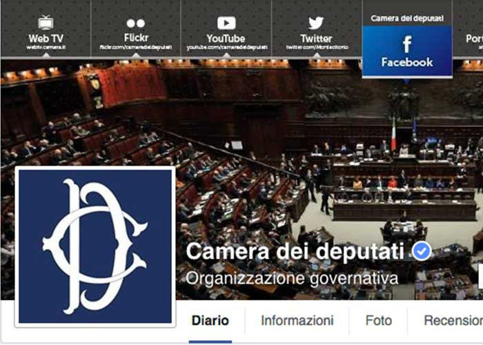 La camera dei deputati su facebook for La camera dei deputati