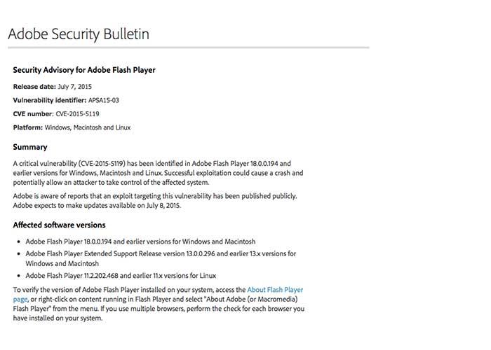 Baco di Sicurezza in Adobe Flash