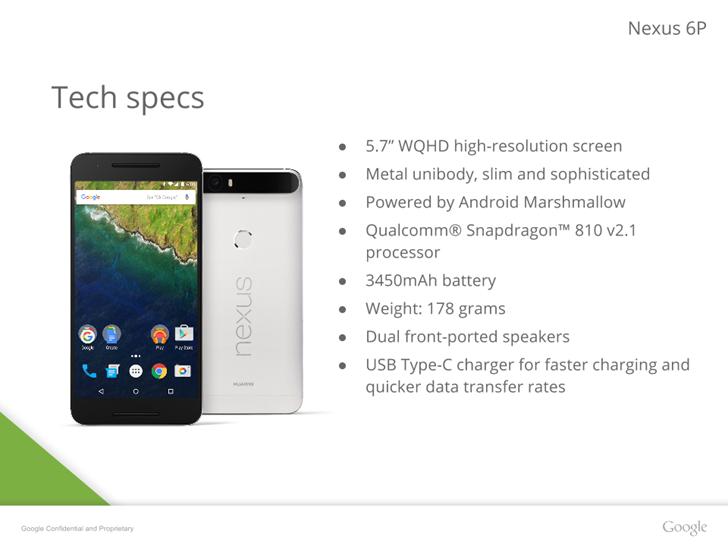 Nexus 6P ecco le caratteristiche tecniche, batteria extralarge