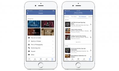 L'App di Facebook per iOS filtra gli eventi per categoria