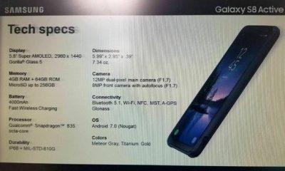 Samsung Galaxy S8 Active: tutte le specifiche tecniche