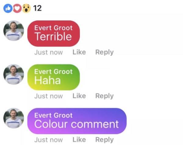Facebook, in arrivo i commenti colorati