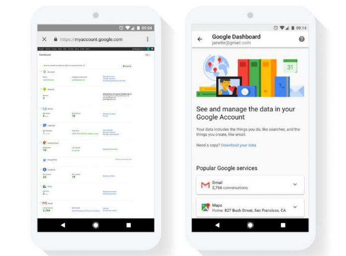 google dashboard mobile layout
