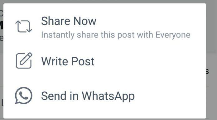 facebook condivisione whatsapp
